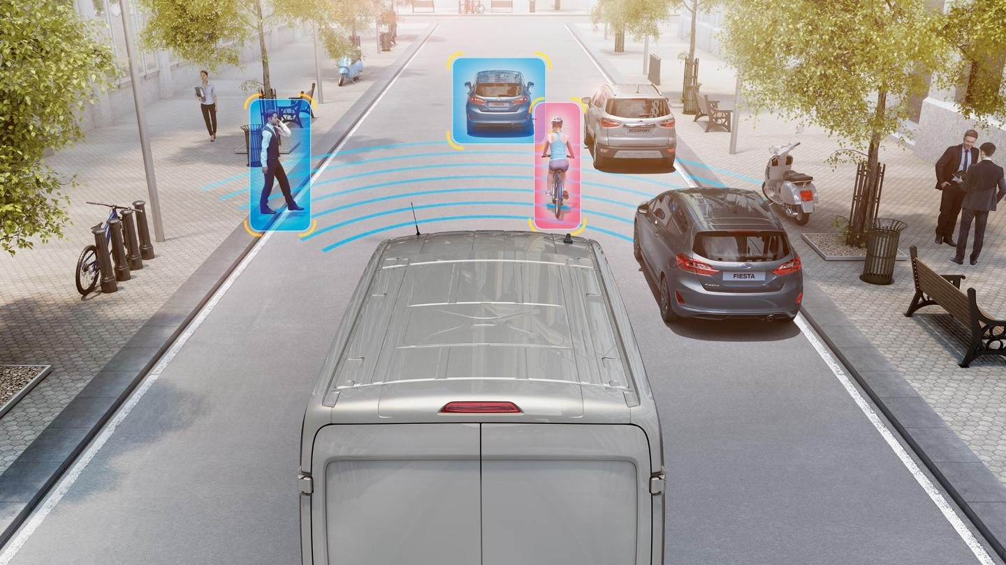 Ford Transit Bus Pre-Collision-Assist Illustration